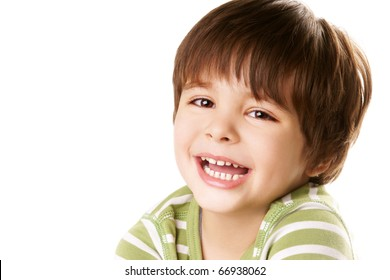 Portrait of happy laughing little boy isolated on white background
