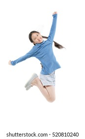 Portrait of happy little Asian child girl jumping isolated on white