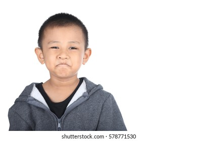 Portrait of happy little boy , isolated on white