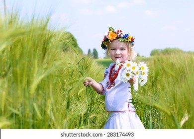 Portrait of happy little child, cute preschooler girl wearing traditional ukrainian dress and holding daisy flowers enjoying nature playing in wheat or barley field on a sunny summer day