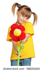 Portrait of happy little girl with flower isolated on white background