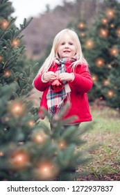 Portrait of happy little girl hanging bauble on fir tree outdoors. Cute girl looking at camera and smiling among Christmas trees at farm