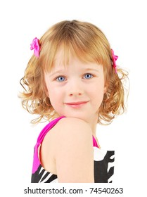 Portrait of a happy little girl on the white background.
