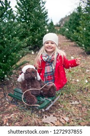 Portrait of happy little girl sitting with teddy bear on sled among fir trees in snowfall, looking at camera and smiling