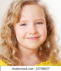 Portrait happy little girl. Smiling child