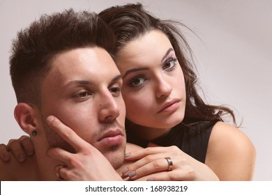Portrait of happy loving couple .Glamour color.
