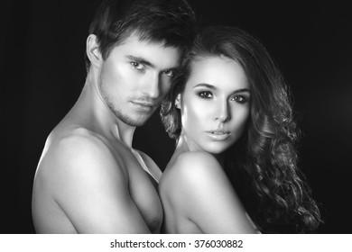 Portrait of happy loving couple.Beautiful woman near the man.