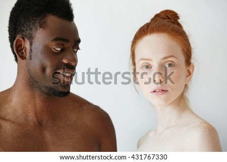 Nude interracial couple holding hands this rather