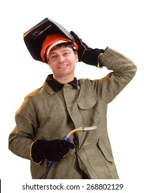 Portrait of happy male welder standing over white background