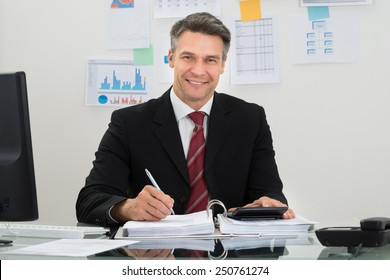 Portrait Of Happy Mature Businessman Working At Office