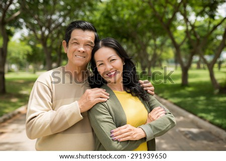 Portrait of happy mature couple: husband and wife