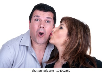 portrait of a happy mature couple isolated
