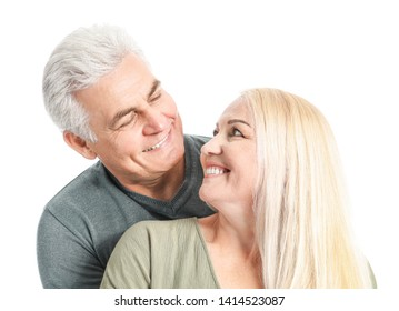 Portrait of happy mature couple on white background