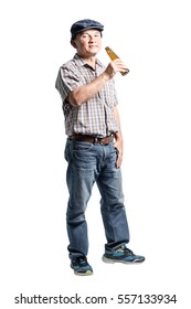 Portrait of a happy mature man drinking alcohol. Isolated full body on white background
