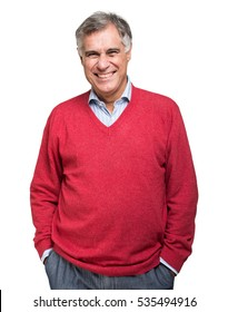 Portrait of a happy mature man isolated over a white background
