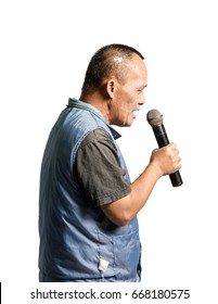 Portrait of a happy mature man presented with microphone. Isolated on white background with copy space