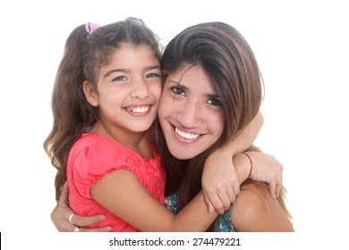 portrait of happy mother and daughter on a white background
