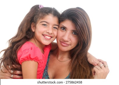portrait of happy mother and daughter on white background