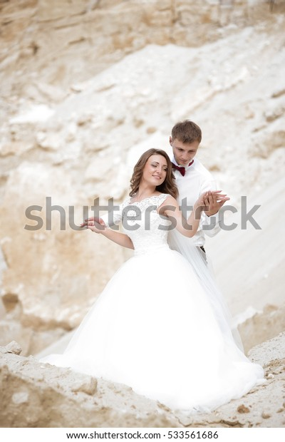 Portrait of happy newlyweds married on a sunny day in the mountains. Wedding dress, bride, love.