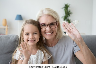 Portrait of happy old grandmother and kid girl waving hands looking at camera, smiling grandma with granddaughter making video call, child and granny vloggers recording video blog or vlog together