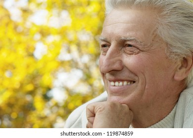 portrait of a happy old man in autumn park