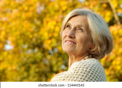 portrait of a happy old woman posing at nature
