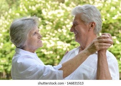 portrait of a happy older couple on a walk in the park in spring