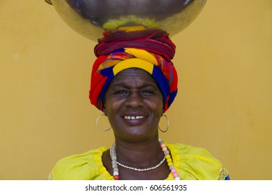 Portrait of a Happy Palenquera - February 2017 - Cartagena, Colombia