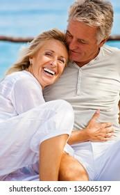 Portrait of a happy romantic couple outdoors.