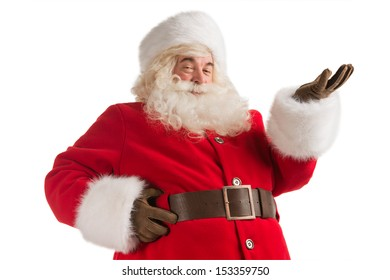 Portrait of happy Santa Claus isolated on white background presenting, greeting, welcoming