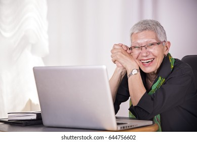 Portrait of a happy senior business woman working on her laptop