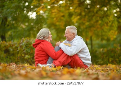 Portrait of happy senior couple in autumn park