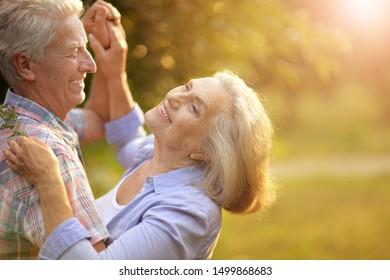 Portrait des glücklichen Paares, der im Sommerpark tanzt