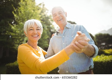 Portrait of happy senior couple dancing in park
