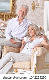 Portrait of happy senior couple drinking tea in cozy living room