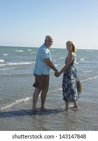 Portrait of happy senior couple holding hands on tropical beach