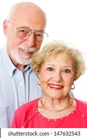 Portrait of happy senior couple isolated on white background.