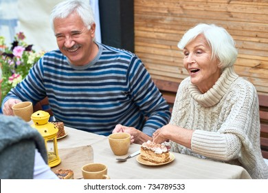 Portrait of happy senior couple laughing enjoying dinner with friends and family drinking tea with cakes on outdoor terrace