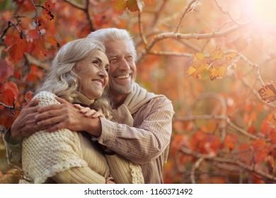 Porträt eines glücklichen älteren Paares im Park