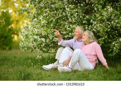 Portrait of happy senior couple resting in a park