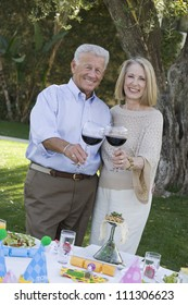 Portrait of happy senior couple standing together while toasting wine
