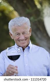 Portrait of happy senior man holding glass of wine