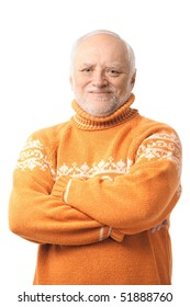 Portrait of happy senior man looking at camera, smiling. Isolated on white background.