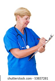 Portrait of a happy senior nurse taking notes over white background