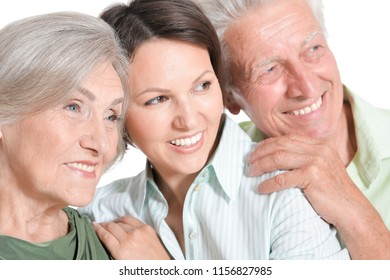 Portrait of a happy senior parents with daughter, isolated