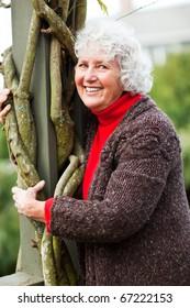 A portrait of a happy senior woman