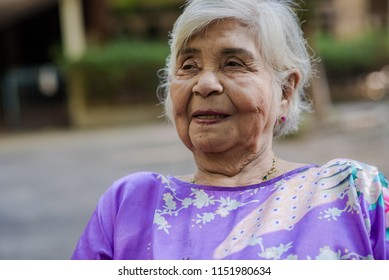 portrait of happy senior woman on a wheelchair at home