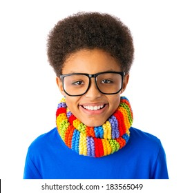Portrait of Happy smiling African American teenager, school boy with eyeglasses and colorful scarf. Isolated, over white background.