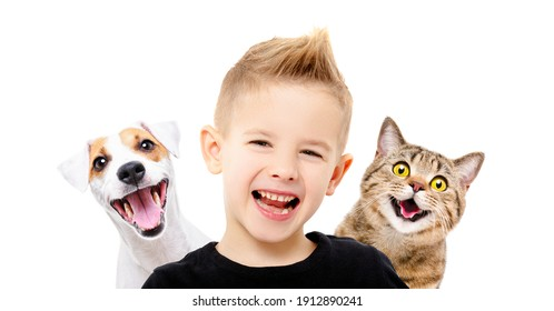 Portrait of happy smiling boy with a dog Jack Russell Terrier and a cat Scottish Straight, closeup, isolated on white background