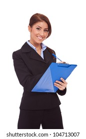 Portrait of happy smiling business woman with blue clipboard, writing, isolated on white background